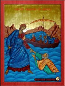 icon peter walking on water